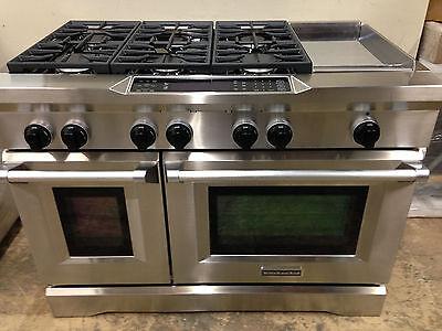 "Kitchenaid 6 Burner Gas Cooktop kitchenaid kdrs483vss03 48"" pro dual fuel range stove 6 burners +"