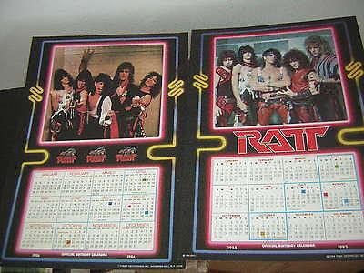RATT CALENDAR LOT OF 2 1985 &1986 LICENSED BY FUNKY BIRTHDAY CALENDER'S