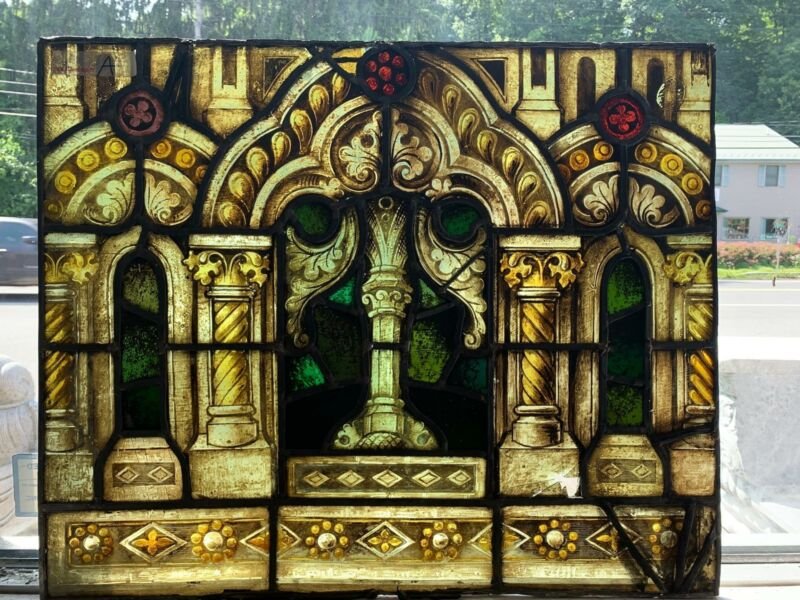 ANTIQUE GOTHIC MAYER OF MUNICH STAINED GLASS WINDOW FROM A CLOSED CHURCH - JJ874