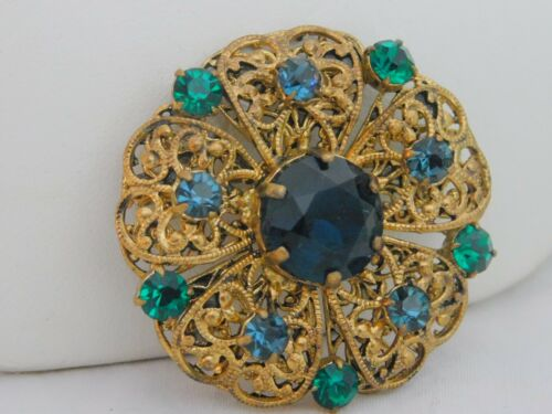 Vintage Czechoslovakia Signed Emerald Green Blue Rhinestone Filigree Brooch