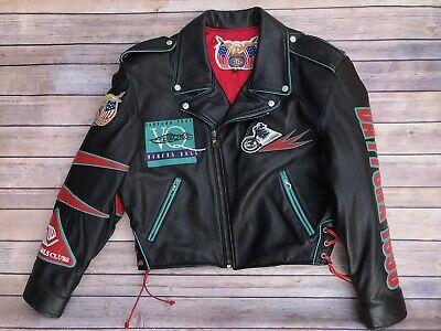 Jeff Hamilton VTG Leather Biker Motorcycle Jacket Size XS Signed Daytona 1998