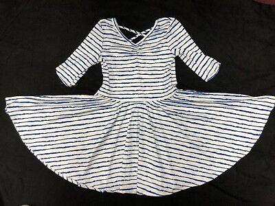 NWOT Dot Dot Smile Ballerina Twirly Dress Summer Knit Girls 3/4 Sleeve BLUE Whit