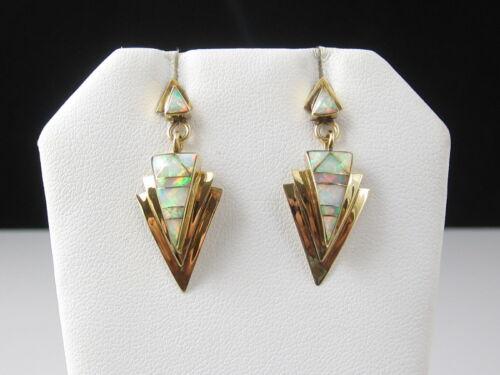 Opal Earrings Drop Dangle Inlay Triangle 14K Yellow Gold Estate Fine Jewelry