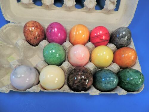 set of 14 MARBLE / ALABASTER / STONE COLORED EGGS ...Mint