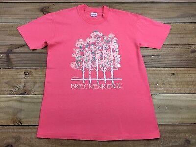 VTG 90's 1990 Breckenridge Colorado Puffy Paint State T-Shirt L Pink Ski