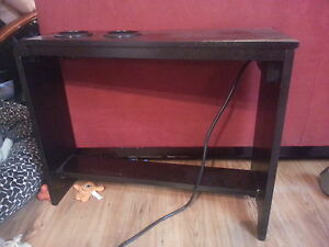 side table with power bar