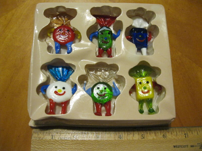 Art Colored Glass Candy Set, Smiling face Decorations Ornaments, 6 Pieces