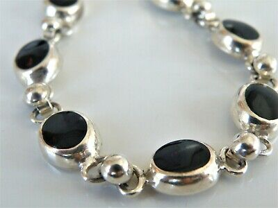 Chunky Sterling Silver 925 Black Onyx Mexico Mexican Bead Station Bracelet (Mexican Onyx Bracelet)