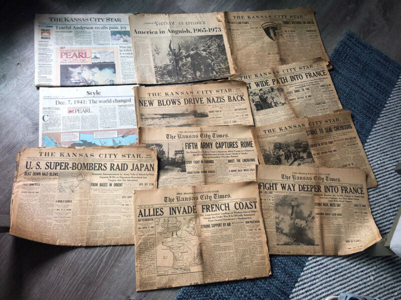 Newspapers WWII 1944 US Invasion of Europe D-Day B29 Bombs Japan Lot Of 10
