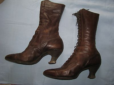 ANTIQUE VICTORIAN BOOTS WOMENS BROWN LEATHER HIGH LACE UP SHOES GRANNY STEAMPUNK