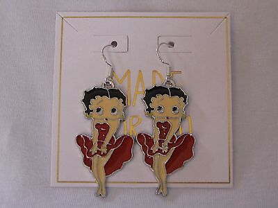 Betty Boop Gift Bag - Betty Boop Earrings & *Gift Bag* Red Dress PinUp Pose~Enamel Charm~925 Wires