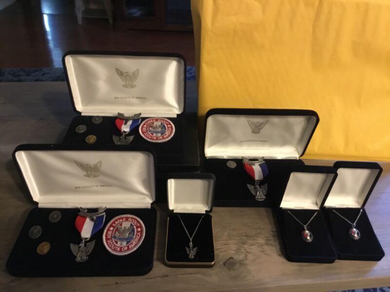 Lot Boy Scout Eagle Scout Medals, Patches,Pins, necklaces, Presentation Boxes