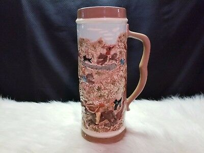 "Vintage Hand Painted Beer Stein 11.5"" Native Indian Desert Scenery"