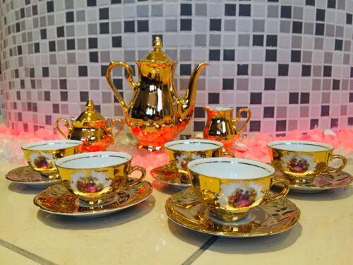BAVARIA TIRSCHENREUTH PORZELLAN GOLD 15 TEILIG WUNDERSCHÖN