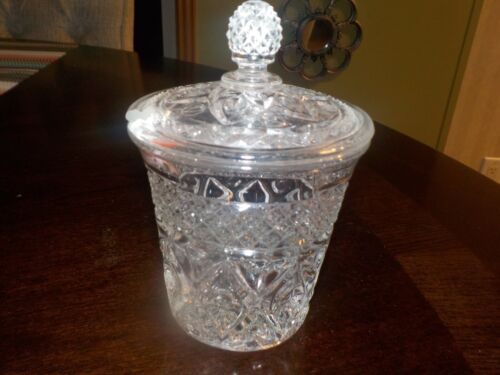 IMPERIAL CAPE COD CRYSTAL COVERED MARMALADE JAR.....NICE!