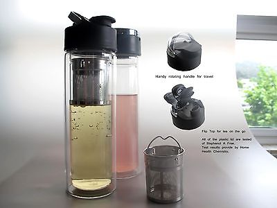 Tryeh Double-Wall Glass Travel Tumbler W/Removable infuser + Neoprene Sleeve