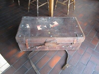 Vintage Large Brown Leather Trunk