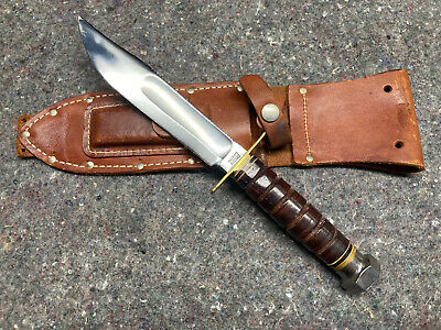 marbles pilot knife gladstone mich usa vintage survival w/ sheath & stone #16