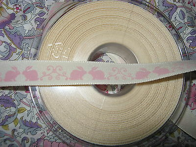 4 metres Berisfords Natural Charms  Ribbon-Little Rabbit Pink 15mm New baby etc