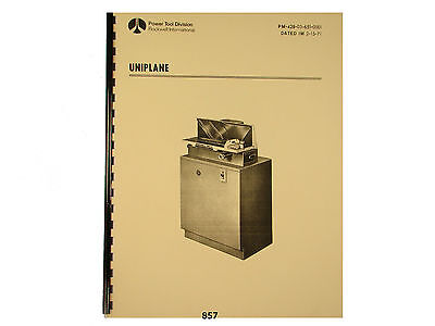 Rockwell / Delta Uniplane Instruction and Parts List Manual  * 857
