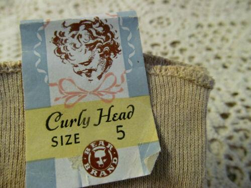 Orig Tag~1920s CURLY HEAD Bear Brand Hosiery Antique Baby Long Stockings Socks