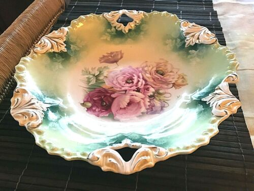 ANTIQUE PORCELAIN SIGNED  R S PRUSSIA BOWL MOLDED PATTERN ROSES 10 1/2 INCHES.