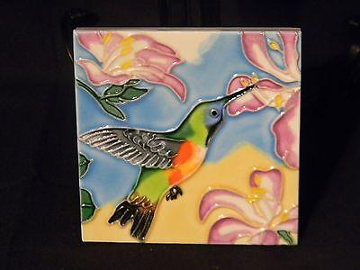 Ceramic Tile Green Hummingbird Flower 4x4 Vibrant Art Hand Painted Wall Decor
