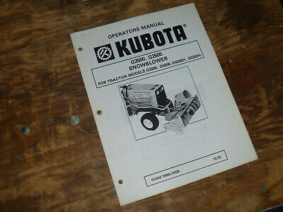 Kubota G2500 G2505 Snow Blower For Tractor G4200h Operator Maintenance Manual