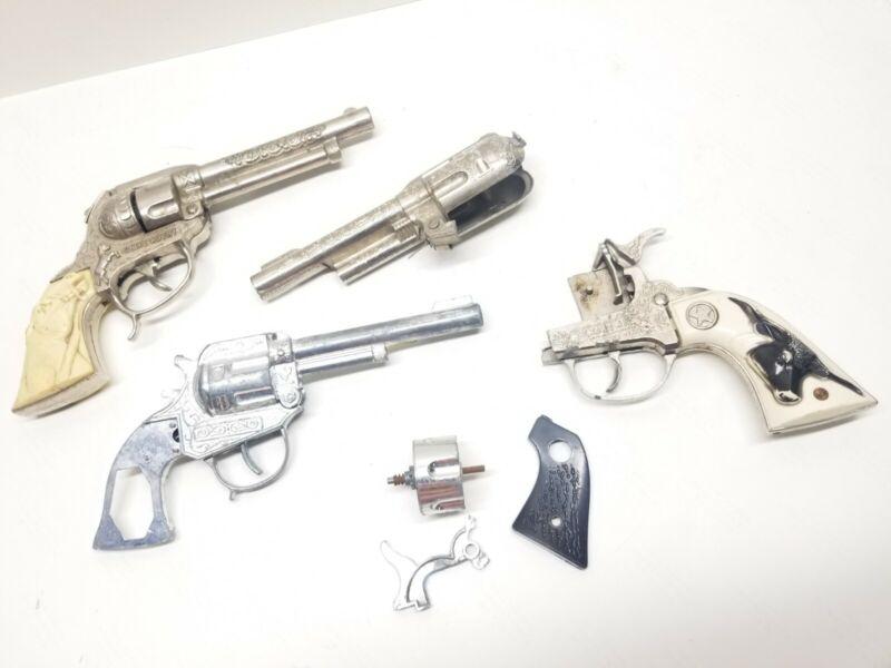 Vintage Lot  Cap Pistols for Repair or Parts, Gene Autry Western Detective