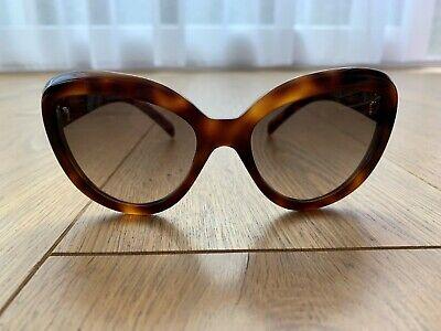 Prada Sonnenbrille Cat Eye Tortoise SPR 08R TKR 3D0 Katzenaugen braun gold Neu!