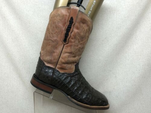 Dan, Post, Brown, Leather, Exotic, Caiman, Cowboy, Western, Boots, Mens, Size, 10, EW,