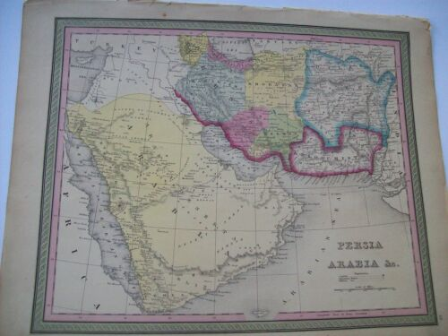 Antique 1854 MITCHELL MAP PERSIA ARABIA # 68 hand tinted