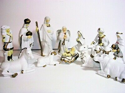 Christmas 12 PCS Porcelain NATIVITY Set, White & Gold Hand Painted with Crystals