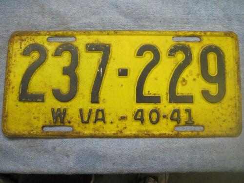 Vintage 1940-41 West Virginia License Plate # 237-229