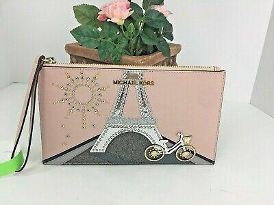 Michael Kors Wristlet Jet Set Novelty Eiffel Tower Paris Bike Studded Bag XL B21