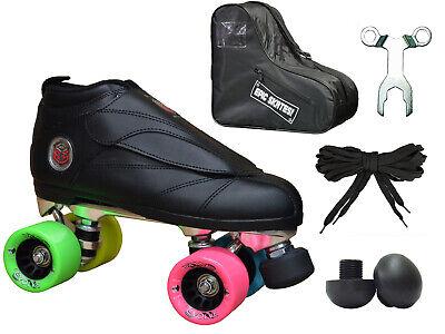 Black & Rainbow Epic Skates Evolution Quad Roller Jam Speed Skate 5 Pc. Bundle Black Roller Skate Men