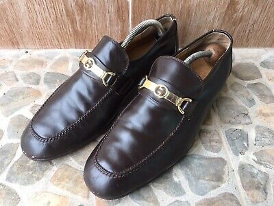 Vintage Gucci Gold Hardware Dark Brown Mens Loafers US Size 8-8.5