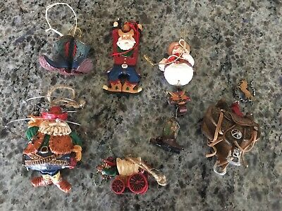 Set of 6 Cowboy Themed Christmas Tree Ornament Set Western Decor](Cowboy Christmas Decorations)
