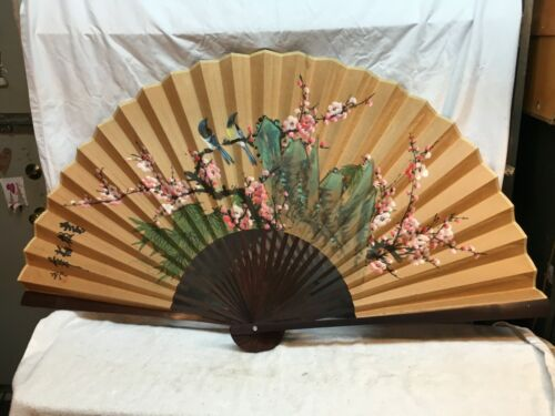 """Vintage Hand Painted Oriental Hand Fan Folding Large 48"""" Cherry Blossom Floral"""