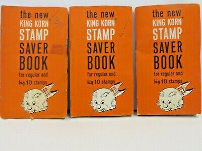 Lot Of 3 Vintage full KING KORN Trading Stamps books...
