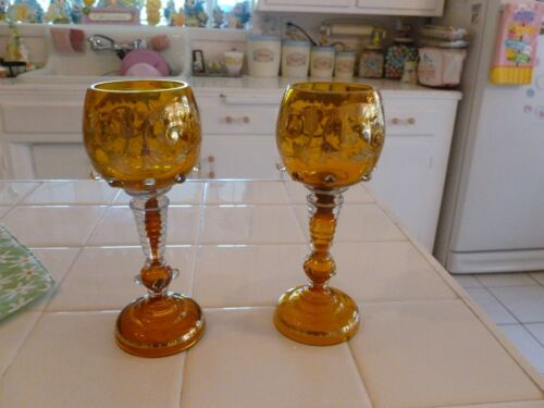 Beautiful Vintage Pair Of Amber Gold Encrusted Venetian Glass Chalices Goblets