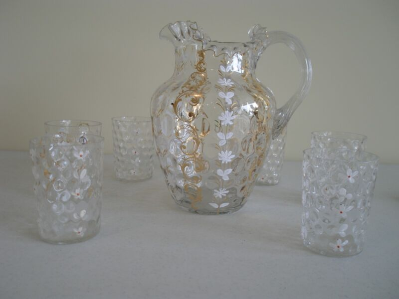 ANTIQUE INVERTED THUMBPRINT HAND PAINTED DECORATED DAISY GLASS WATER SET