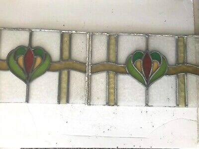2 x stained glass windows, 1920/30's top fan lights, salvaged good condition.