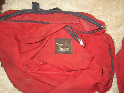 Traveller Pannier - Cycling Tough Traveler Panniers Saddle Bags Tough Fabric Set of 2 Red