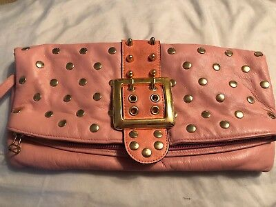 Rare BE&D Pink Lambskin Leather Gold Buckle Studded Fold Over Flap Clutch $485 ()