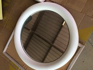 1970's Retro White Plastic Framed Round Bathroom Wall Mirror Renmark Renmark Paringa Preview