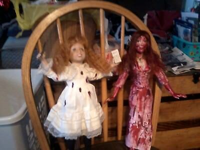 CARRIE AND MOTHER PORCELAIN DOLLS  TALL HALLOWEEN PROP ZOMBIE PROP HORROR PROP (Porcelain Doll Mask Halloween)