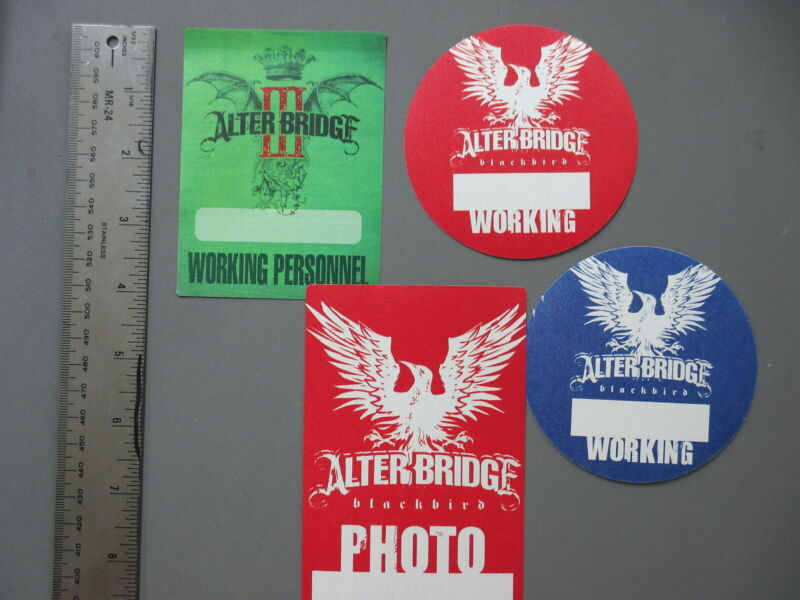 Alterbridge backstage passes 4 Satin cloth stickers CREED !