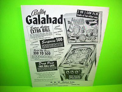 Bally GALAHAD Original 1969 Flipper Game Pinball Machine Promo Sales Flyer