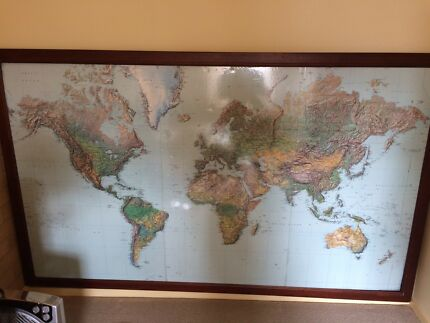 Ikea framed world map art gumtree australia melbourne city large map of the world gumiabroncs Image collections